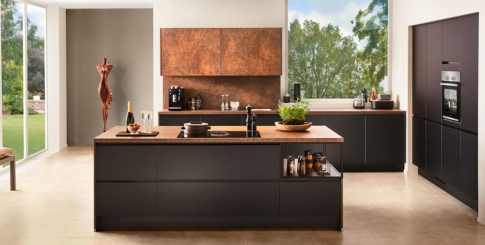 Küche mit freistehender Kochinsel nobilia Touch LineN ...